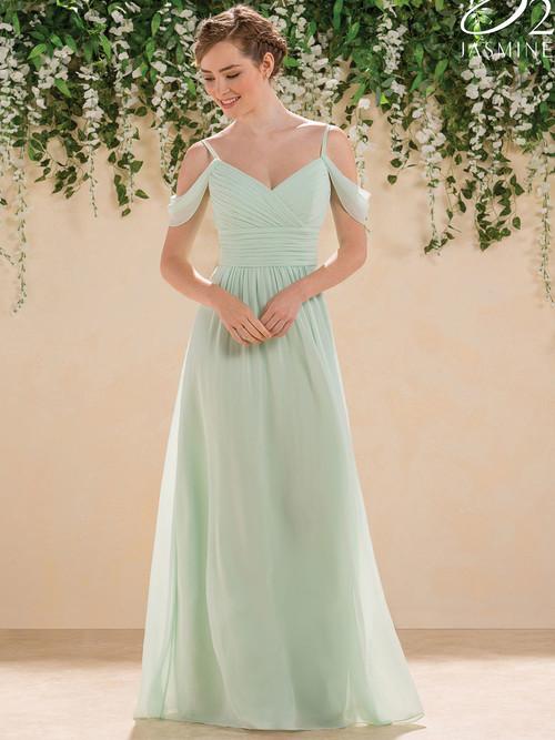 Jasmine B183005 V-neck Pleated Bridesmaid Dress
