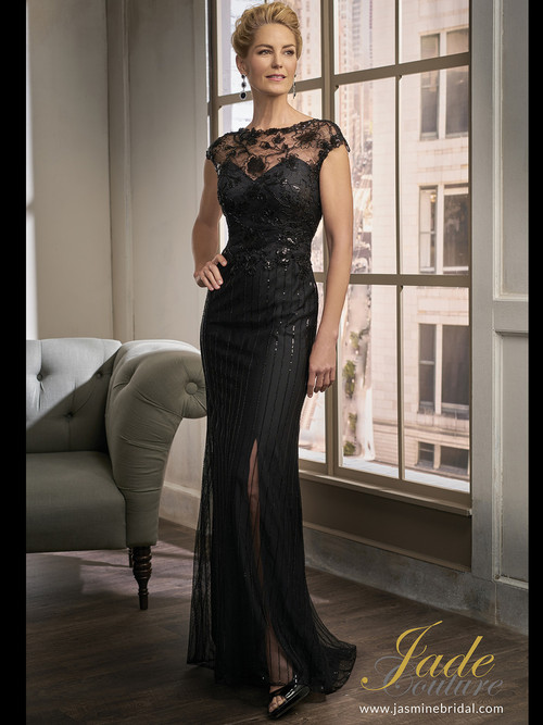 Jade Couture K198015 Illusion Boat Neckline Mother Of The Bride