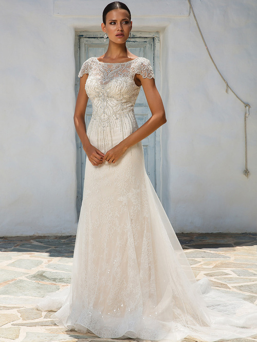 Justin Alexander 8958 Cap Sleeves Wedding Dress