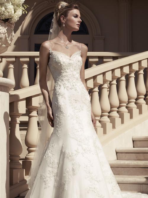 Spaghetti Strap Beaded Lace Bridal Gown Casablanca 2117