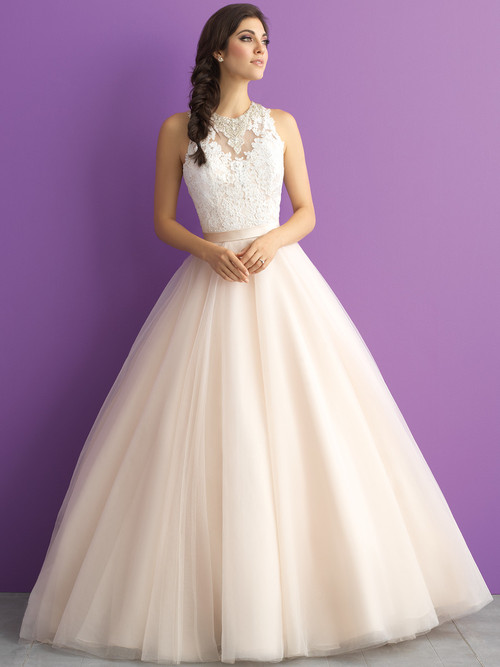 Allure Romance 3011 Illusion High Neck Wedding Dress