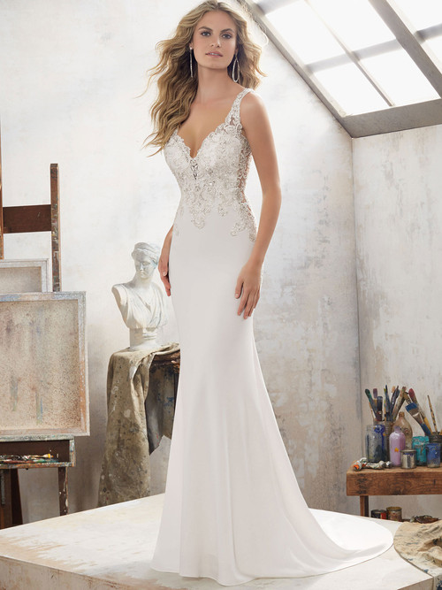 Mori Lee 8113 V-neck Beaded Wedding Dress Mallory