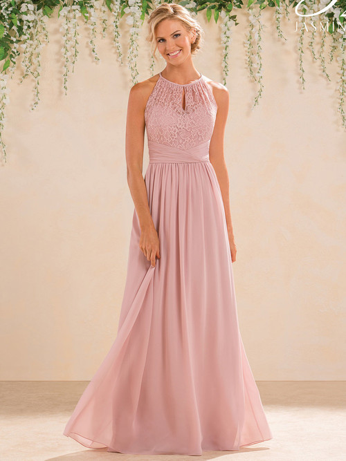 Jasmine B183016 Illusion High Neck Lace Bridesmaid Dress