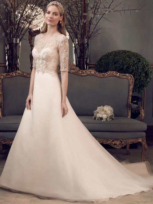 Casablanca 2162 Three Quarter Sleeves Wedding Dress