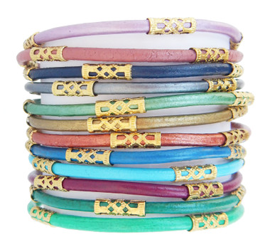 Bright Gem Tone Chloe Leather Bracelet Set