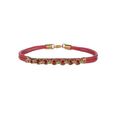 Pink Leather & Gold Chain Bracelet