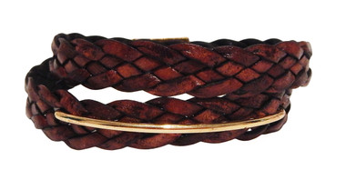 Woven Brown Leather Wrap Bracelet with Gold Bar Detail