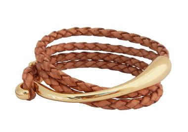 Double Wrap Natural Leather Bracelet