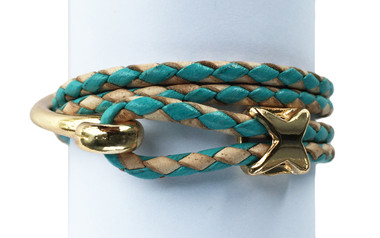 Turquoise & Natural Leather Bolo Cord Wrap Bracelet