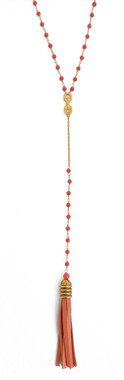 Coral Rosary Link Drop Leather Tassel Necklace