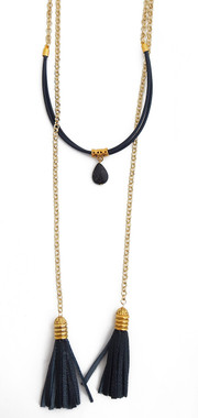 Navy Leather and Lapis Wrap Necklace