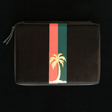 iPad case hand painted with gold foil palm tree and orange and green stripes