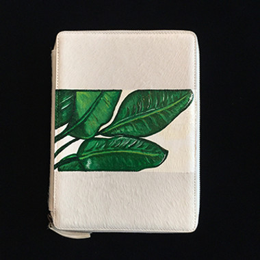 iPad case hand painted with wide stripe of banana leaves