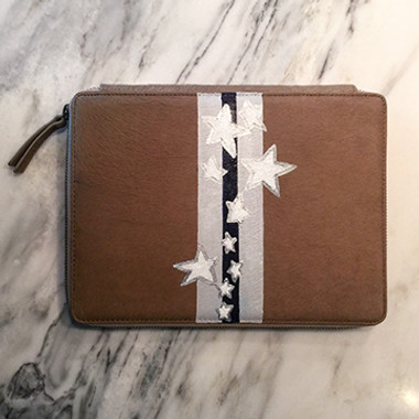 iPad case hand painted with narrow stripe of stars and stripes
