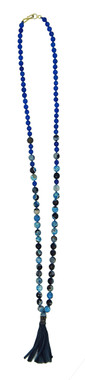 pigmented blue agate, silk cord, pave diamonds, leather