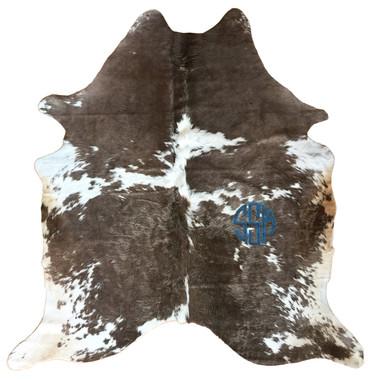 circle monogram steel grey blue hair-on hide rug