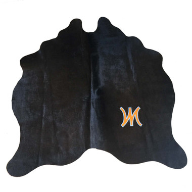 custom graphic monogram chocolate brown hair-on hide rug