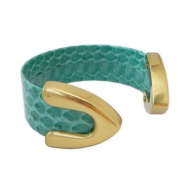 Turquoise green snakeskin cuff bracelet
