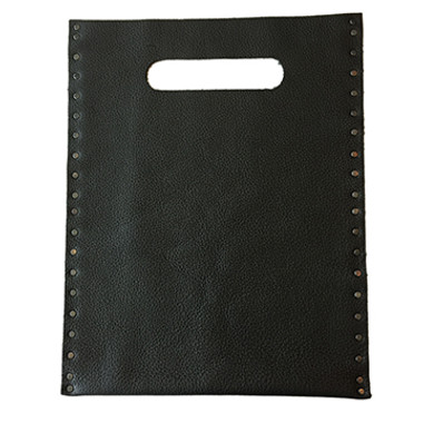 Black pebble grain flat leather tote