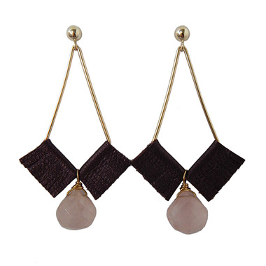 Kendall geometric earrings with plum leather and rose quartz