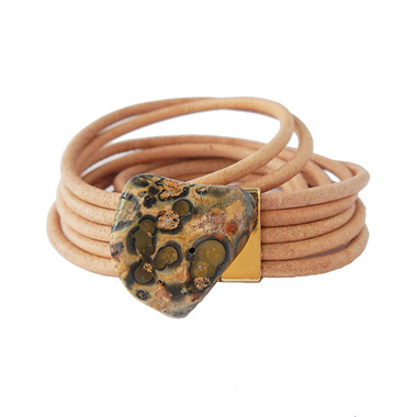 Multilayer natural leather and jasper wrap bracelet