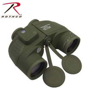 7 X 50 in Olive Drab #20272 Rothco's Military Type Binoculars are waterproof & fog proof, buoyant, O-ring sealed & Nitrogen filled. In addition the Binoculars feature a built in compass, range finding reticule, illumination reading and speedy range finding dial. Compass also includes a Nylon case, cleaning cloth, 2 batteries and instructions for use.