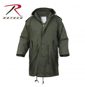 Inspired by the 1951 Army issued parka, Rothco's M-51 Fishtail Parka is the perfect cold weather coat. The Parka features a button-in quilted liner for added warmth, brass zipper with snap-up storm flap, drawstring hood, waist and bottom, adjustable cuffs, snap up back flap, epaulets and two front flap pockets.