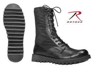 Rothco's ripple sole jungle boots feature a super comfortable ripple sole with a canvas & leather upper. The ripple sole jungle boot also features a nylon web collar, speed-lace eyelets, rubber sole and side vents. Available in full sizes 4 to 15 regular width and 3 to 13 wide widths.