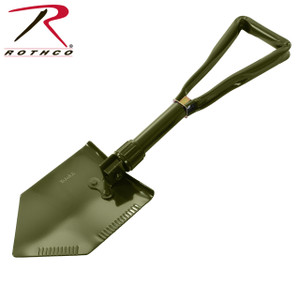 item 828 Rothco's Tri-fold Shovel folds compactly in three sections and 24 inches and folds down to 9 inches