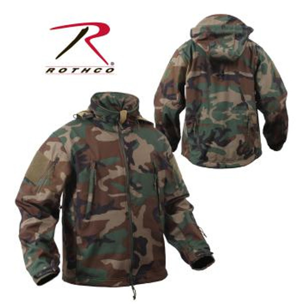 """Rothco's Soft Shell Tactical Jackets are constructed with a breathable moisture wicking fabric and feature a waterproof polyester shell. The 3-Layer construction deflects wind, wicks away moisture and retains body heat. While the jacket was designed for people in the field, this versatile jacket can be seen on the street to the slopes and is great for embroidery. The Spec Ops Soft Shell Tactical Jacket has a lined stand up collar with concealed detachable hood, the collar has zipper pouch to hold hood when hood is not in use, vent zipper under each arm, 4"""" X 4"""" loop side of hook & loop on each shoulder for patch attachment, drawstring waist, elastic hook & loop adjustable wrist cuffs."""
