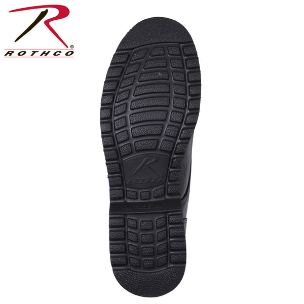 Rothco Uniform Oxford Work Sole feature a mirror finish with easy care Poromeric uppers, oil resistant EVA sole, steel shank, Goodyear welt construction, lightweight, removable cushion insole, Available in Sizes: 5 to 13 regular (including ½ sizes), 7 to 13 wide widths (full sizes only).