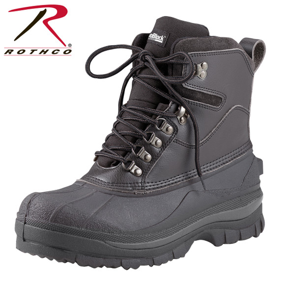 """Same as item 5059 but all black Rothco 8"""" Cold Weather Hiking Boots are perfect for cold, snowy and wet conditions, these winter boots keep feet warm and dry. Rothco's patented Thermoblock technology provides insulation (200 gm) for warmth and the suede leather uppers offer comfortable protection from the elements. These cold weather boots also feature EVA midsole, taped seams for waterproofing, and rubber outsoles that provide pliable traction in cold, wet and snowy conditions."""