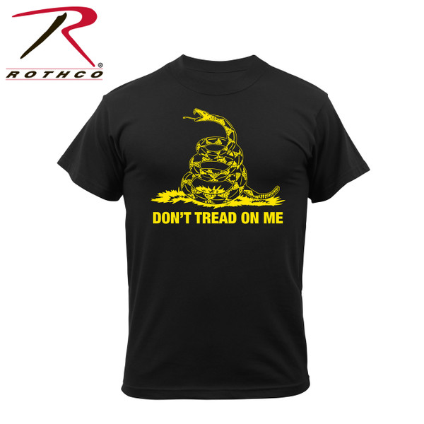 """61060- Don't Tread On Me-Black Tee Rothco's Don't Tread On Me Vintage T-shirt features a super soft washed cotton/poly material for a classic vintage feel, tagless label and classic """"Don't Tread On Me"""" saying, representative of the Gadsden Flag."""