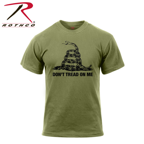 """67707-Don't Tread On Me-Olive Drab Tee Rothco's Don't Tread On Me Vintage T-shirt features a super soft washed cotton/poly material for a classic vintage feel, tagless label and classic """"Don't Tread On Me"""" saying, representative of the Gadsden Flag."""