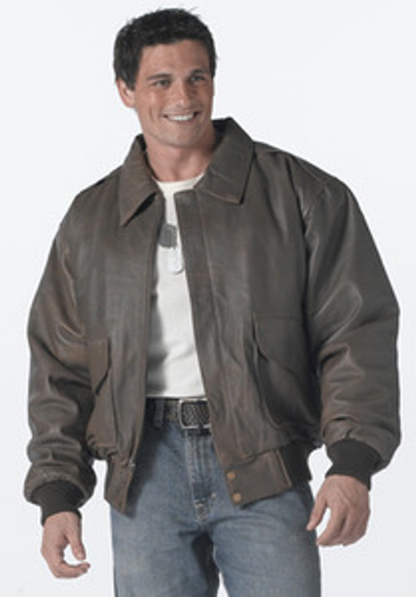 item 7577 Genuine Leather A2 Classic A-2 Brown Leather Flight Jacket used since WWII. Polyester zip out lining, 2 front patch/slash pockets, epaulets, fold-down collar, knit cuffs, size S to XL,  limited quantities! Available sizes are : M [chest 37-41] L [chest 41-45] XL [chest 45-49] 2X [chest 49-53]