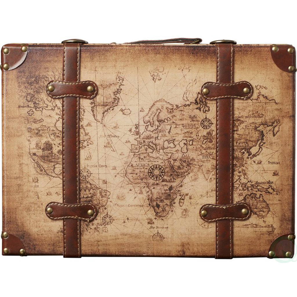 ... Old World Map Leather Vintage Style Suitcase With Straps Set Of 2 ...