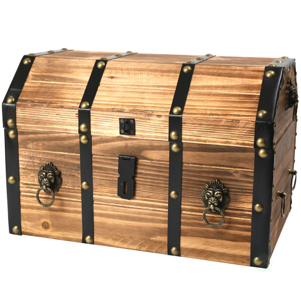 Large Wooden Pirate Lockable Trunk with Lion Rings
