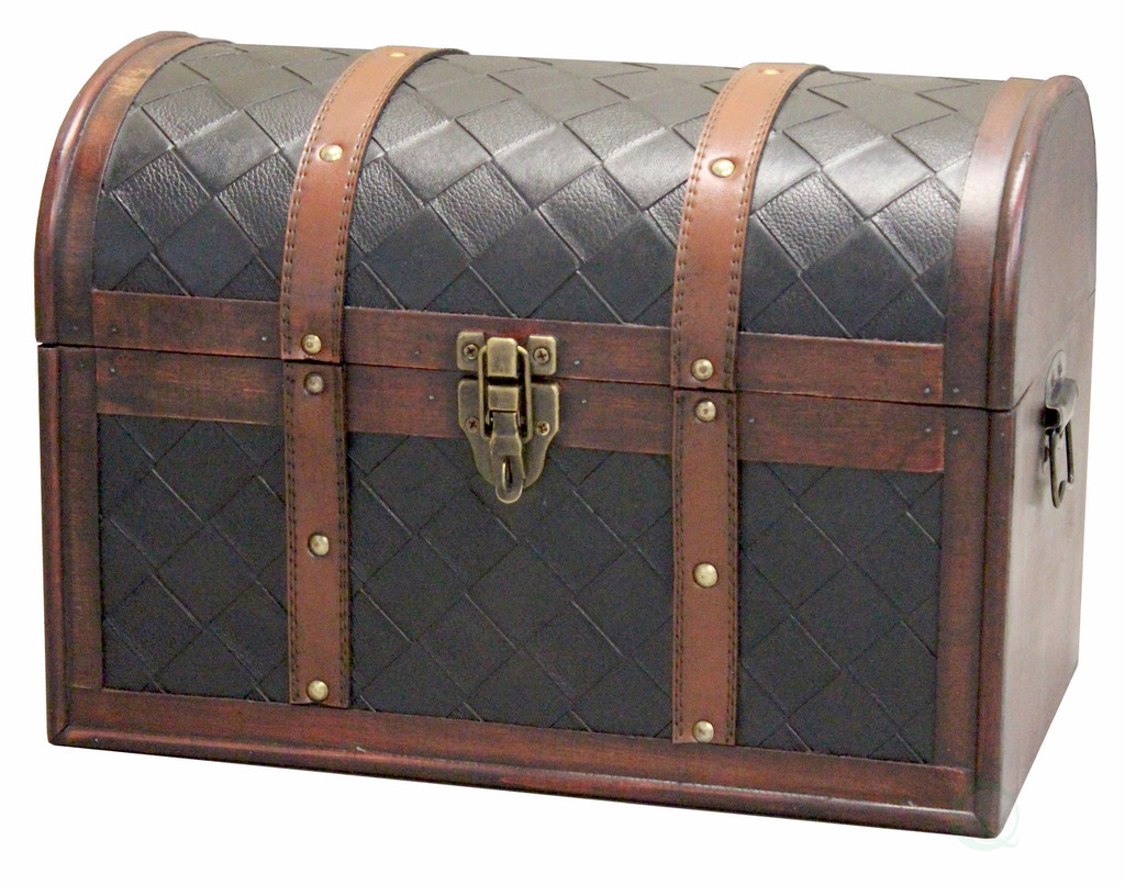 Wooden Leather Round Top Treasure Chest, Decorative storage Trunk with Lockable Latch