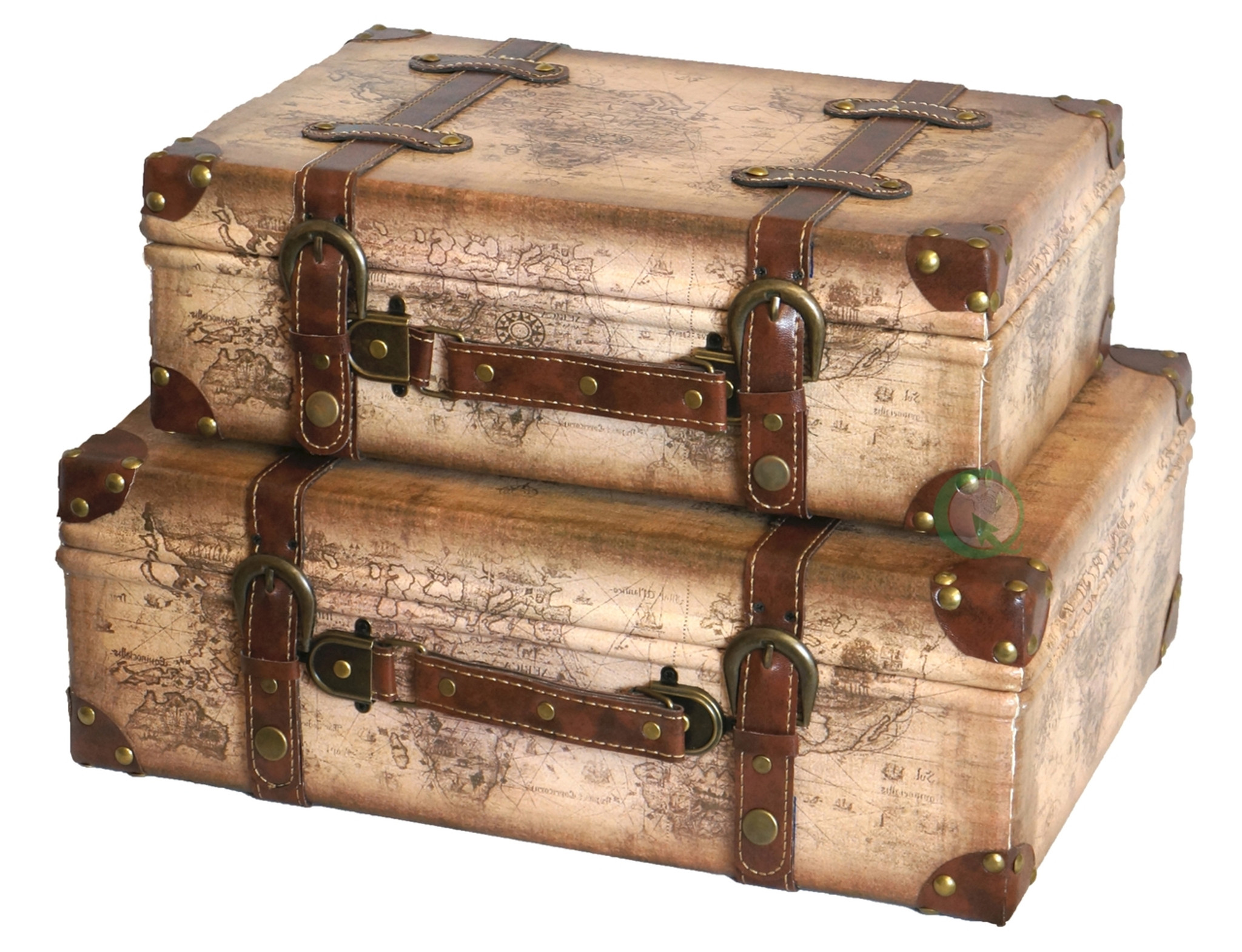 Old world map leather vintage style suitcase with straps set of 2 gumiabroncs Gallery
