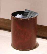 Vintiquewise Faux Leather Antique Design Waste Bin