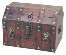 Antique Wooden Pirate Chest with Lion Rings
