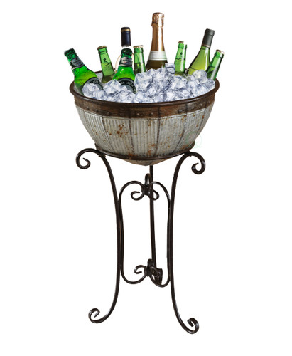 Galvanized Metal Beverage Cooler Tub with Stand