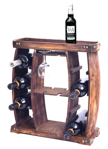 Rustic Wooden Wine Rack with Glass Holder, 8 Bottle Decorative Wine Holder