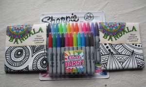 Bandanna kit contains (2) 100% cotton bandannas in the Mandala pattern and the Sunflower pattern plus a Sharpie 24 ct Colorburst Fine Point Permanent Marker set.