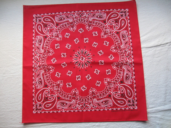 """21""""x21"""" red paislley made in USA Bandanna"""