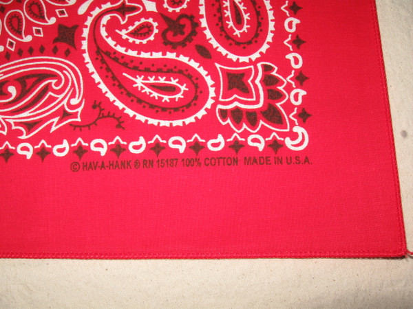 Made in USA printed and rolled hem edge stitching