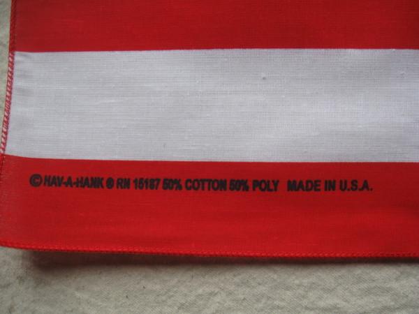 Made in USA Imprint on bandana. 50% cotton, 50% Poly