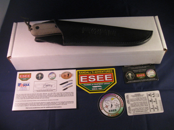 Box and all contents of ESEE 6 HM with Quality leather sheath- made in USA