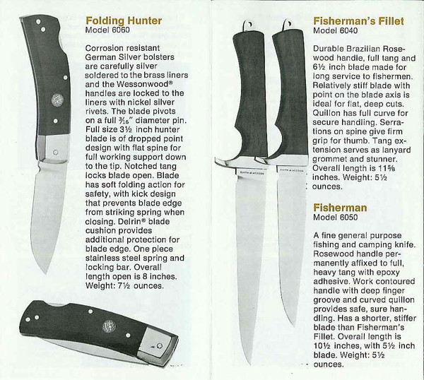 Original S&W brochure of the series and knife.