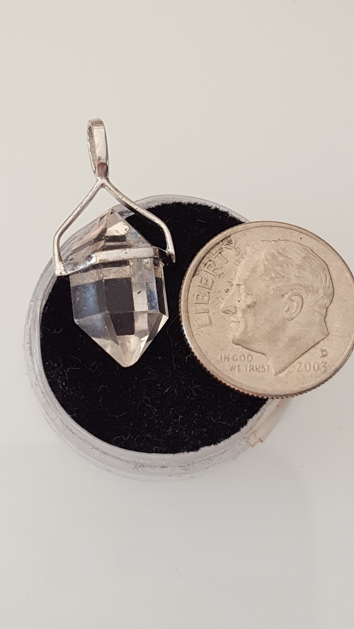 Herkimer diamond pendant with real 925 silver crystal junkie herkimer diamond pendant with real 925 silver aloadofball Gallery